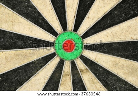 Center and bulls-eye of a dartboard