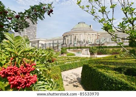 Center of Botanique, public garden in Brussels, Belgium in early autumn - stock photo