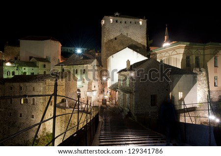 Center of historical city Mostar in night, Bosnia and Herzegovina - stock photo