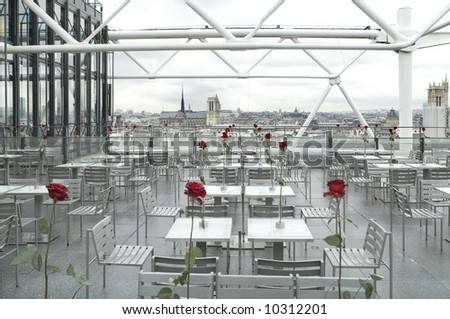 Center of Modern Arts, observation deck, cafe, Paris,January 2008 - stock photo