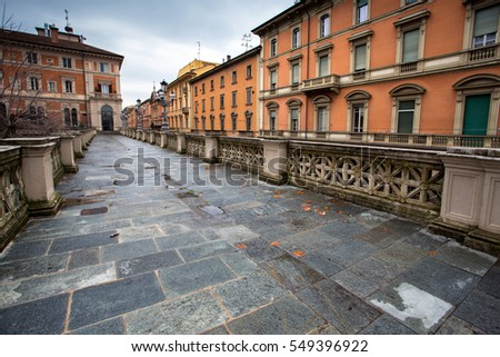 center of the Italian city of Bologna. view of the old buildings