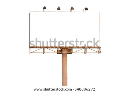 Center view blank billboard isolated on white background - can advertisement for display or montage product or business.