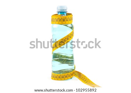 Centimeter wrapped around bottle of water