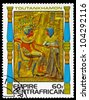 CENTRAFRICAIN - CIRCA 1978: A stamp printed in The Central African Empire showing the image of a throne decoration, series is devoted to Egyptian Pharaoh Tutankhamun, circa 1978 - stock photo