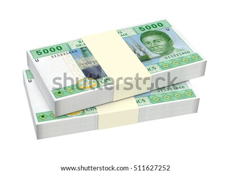 Central African CFA francs isolated on white background. 3D illustration.