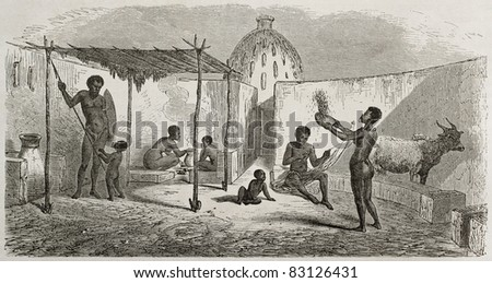 Central African dwelling old illustration.  Created by Rouargue after Barth, published on Le Tour du Monde, Paris, 1860