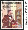 CENTRAL AFRICAN REPUBLIC - CIRCA 1985: stamp printed by Central African Republic, shows Louis Pasteur (1822-95), Chemist, Microbiologist, circa 1985 - stock photo
