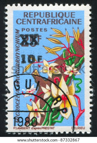 CENTRAL AFRICAN REPUBLIC 1966: stamp printed by Central African Republic, shows Orchid, circa 1966