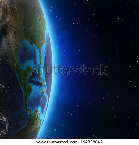 Central America and USA. Elements of this image furnished by NASA - stock photo