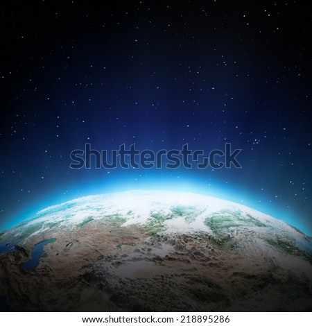 Central Asia lights at night. Elements of this image furnished by NASA