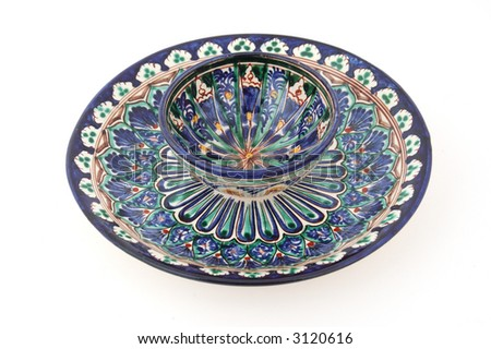 Central Asian (Uzbek) tea cup (piala) on a desert plate. Both cup and plate carry traditional Rishtan style pattern.