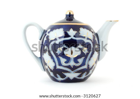Central Asian (Uzbek) tea pot with traditional cotton style pattern.