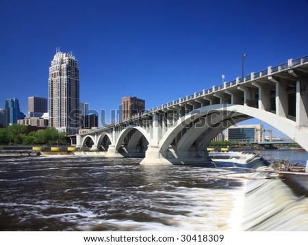 Central ave bridge over Mississippi in downtown Minneapolis - stock photo