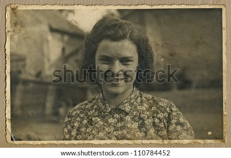 Central Bohemia, CZECHOSLOVAKIA, CIRCA 1948 - portrait of a young woman in the home environment (agricultural farm) - circa 1948