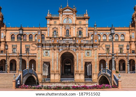 Central building main entrance at the Plaza de Espana in Seville, Andalusia, Spain. It's example of the Renaissance Revival style in Spanish architecture. - stock photo