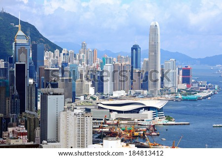 Central business district in Hong Kong - stock photo