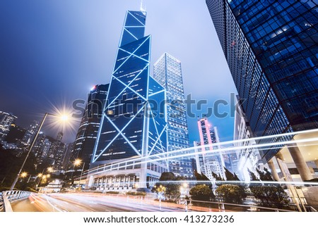 Central business district of Hong Kong at night.  - stock photo