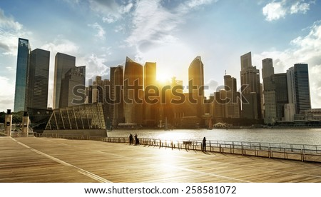 central business district of Singapore at sunset - stock photo