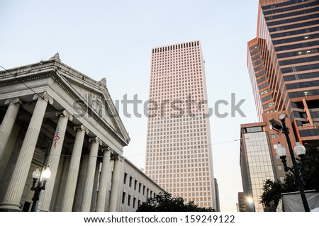 Central Business district, skyscrapers and Gallier Hall, New Orleans, Louisiana - stock photo