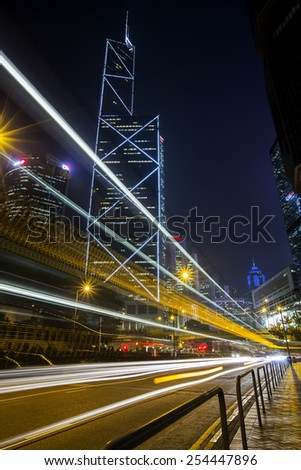 Central District Hong Kong - Feb, 2015: Bank of China Tower in Central District of Hong Kong. Both buildings are skyscrapers, stunning night view and skyline for Hong Kong. - stock photo