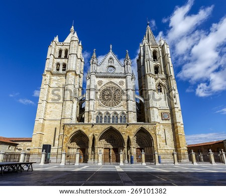 Central facade, towers and rose window of the cathedral of Leon, Castilla y Leon, Spain. - stock photo