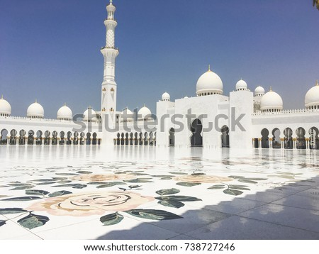 Central floral tiles of Abu Dhabi Grand Mosque