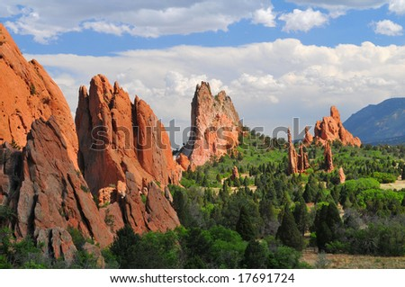 Central Garden of the Gods near Colorado Springs, Colorado with Cheyenne Mountain (NORAD) in the distance - stock photo