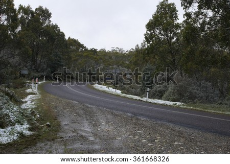 CENTRAL HIGHLANDS TASMANIA, AUSTRALIA - NOVEMBER 26 : Climate change weather event of unseasonal snow in summer accross Tasmania  November 26, 2015 in Central Highlands Tasmania, Australia - stock photo