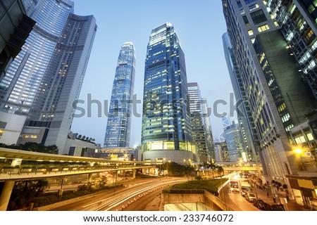 Central Hong Kong at night.  - stock photo