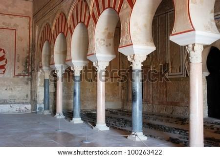 Central nave, Hall of Abd al-Rahman III, Medina Azahara (Madinat al-Zahra), Near Cordoba, Cordoba Province, Andalusia, Spain, Western Europe. - stock photo