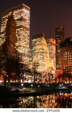 Central Park and manhattan skyline at early night, New York City - stock photo