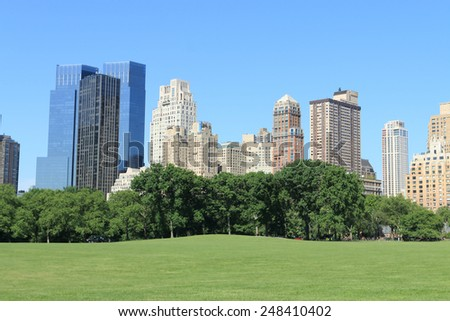 Central Park and Manhattan skyline at spring time, New York City - stock photo