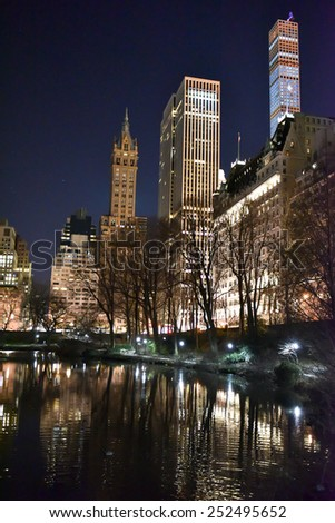 Central Park and New York Skyscrapers at night