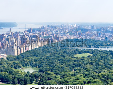 Central Park and the Central Park West skyline in New York City - stock photo