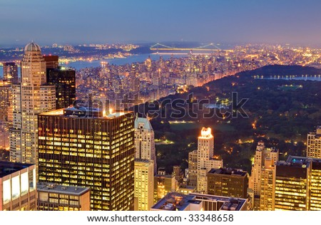 Central Park at Night in New York city, USA. - stock photo