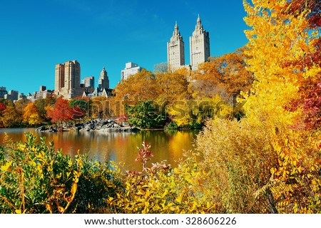 Central Park Autumn and buildings in midtown Manhattan New York City - stock photo