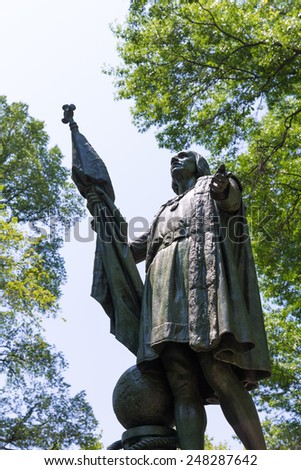 Central Park Christopher Columbus statue Manhattan New York US - stock photo