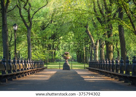 Central Park. Image of The Mall area in Central Park, New York City, USA - stock photo