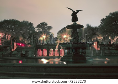 Central Park in front of Bethesda Terrace fountain.  Taken at night in New York City in May of 2008, USA - stock photo