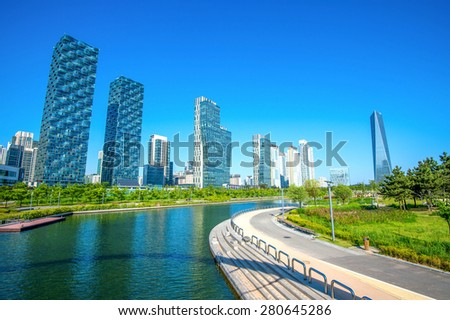 Central Park in Incheon, South Korea. - stock photo