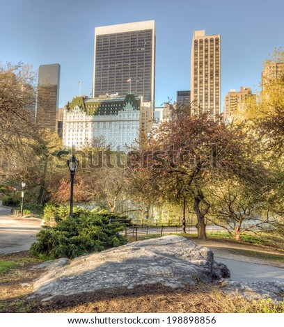 Central Park  in spring with cherry and crapple trees in bloom