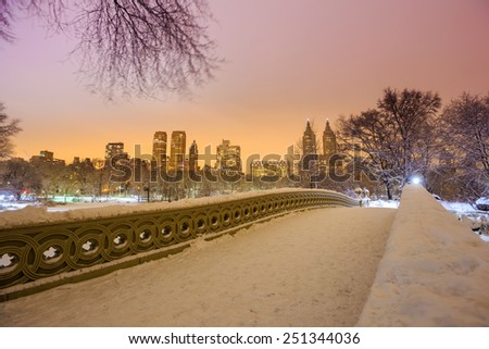 Central Park - New York City bow bridge after snow storm Linus at twilight - stock photo