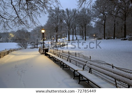 Central Park - New York City during a snow storm - stock photo