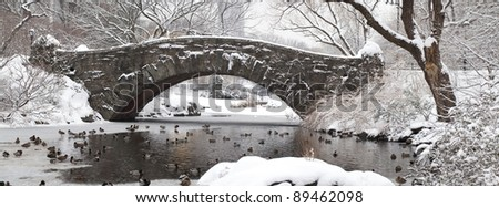 Central Park - New York City Gapstow bridge after snow storm