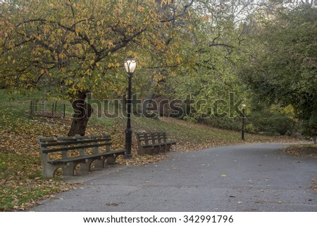 Central Park, New York City in late autumn in early morning after sunrise - stock photo