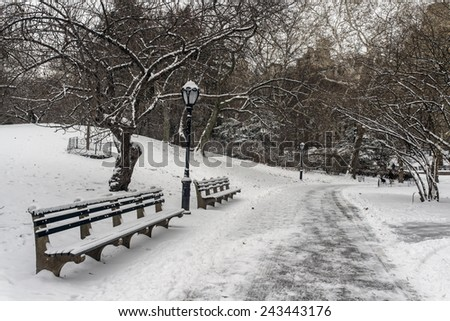 Central Park, New York City in winter after snow storm in January 2015 - stock photo