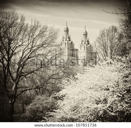 Central Park, New York.  The San Remo building - stock photo