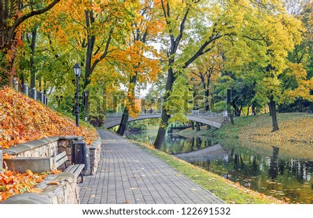 Central park of Riga at autumn, Latvia, Europe - stock photo