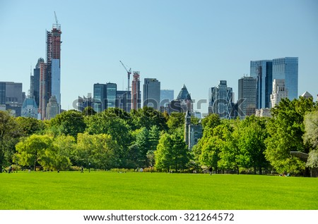 central park view to manhattan with park at sunny day, NewYork City, USA - stock photo