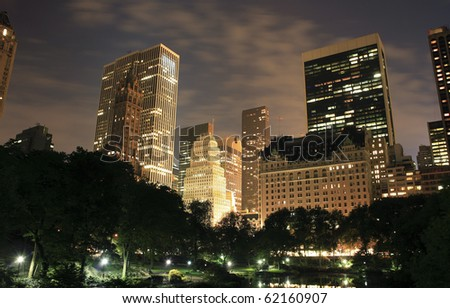 Central Park with buildings in view in New York City.  Taken September 21, 2008 - stock photo